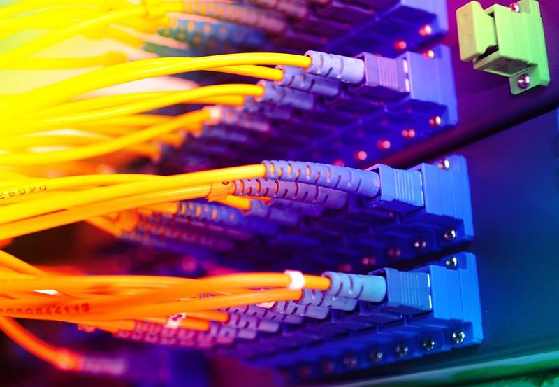 colourful fibre optic cables